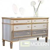 Asta 6 Drawers Dresser60 in. x 20 in. x 34 in. in Gold Leaf