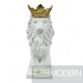 White Lion Figurine with GOLD CROWN
