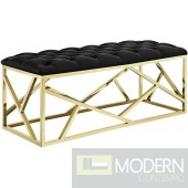 Mezzare Black Velvet tufted Bench in Gold