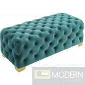 Georgette Button Tufted Performance Velvet Bench Teal