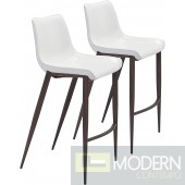 43.3 Magnus Bar Chair Stool White & Silver - Set of 2 - LOCAL DMV DEALS