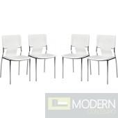 Zuo Modern 4-piece White  Trafico Dining Chair Set LOCAL DMV DEALS