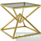 "Yolanthe 25.5"" Brushed Gold Metal Stainless Steel End Table in Gold"