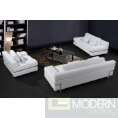 0725 - Modern White Leather Sofa Set