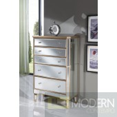 Asta 5 Drawer Cabinet 33 in. x 16 in. x 49 in. in Gold paint