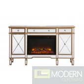 """Take Me to Paris 60"""" Mirrored credenza with wood fireplace in antique gold"""