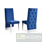 Nicole Modern Blue velvet & Stainless Steel Dining Chair (Set of 2)