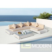 Renava Panama Modern White Outdoor Sectional Sofa Set