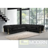 Lourdes Black velvet sectional - GOLD (IN STOCK AUGUST 29)