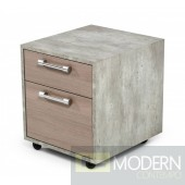 Harvard Brown Oak & Faux Concrete Office Small File Cabinet