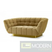 Cleopatra Glam Mustard and Gold Fabric Loveseat