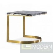 Sloane Glam Black and Gold Marble End Table