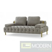 Bentley Glam Grey and Gold Fabric Loveseat