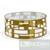 Berlin Glam Clear Glass and Gold Glass Coffee Table