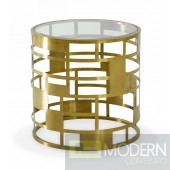 Berlin Glam Clear Glass and Gold Glass End Table