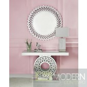 Roberto Mirrored & Faux Gems Finish Console Table With Mirror