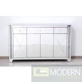 "Octavia 60"" clear crystal mirrored credenza"