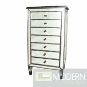 Metz Antique 7-Drawer Gilded Trim Mirrored Bedside Chest