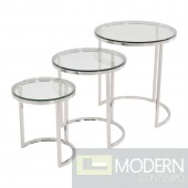 ROLOS 3PC Glass Stainless Steel Side Nesting tables