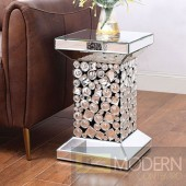Vita Mirror End table with Crystal Gems