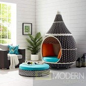 Palazzo Hanging Outdoor Patio Wicker Rattan Pod in Brown Turquoise, Blue