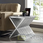 Benoite Contemporary Modern Stainless Steel Accent Side End Table In Silver