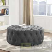 Grey Amour Tufted fabric Ottoman