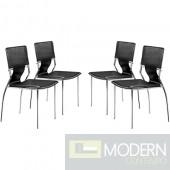 Zuo Modern 4-piece Black Trafico Dining Chair Set LOCAL DMV DEALS