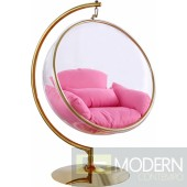 Zen GOLD Acrylic Hanging Swing Bubble Accent Chair wtih Stand PINK