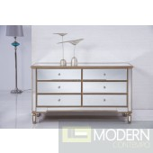 ASHA 6 Drawers Cabinet 60 in. x 20 in. x 34 in. in Gold paint