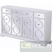 Burch mirrored six drawer credenza in white 60""
