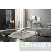 Trinity Modern Glass & Stainless Steel Coffee Table