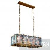 "34"" Iceberg Collection Pendant Lamp Golden Iron Finish Glass Crystal (Clear)"