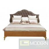 Art Deco Grey Fabric Tufted Headboard Bed