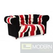 Union Jack Loveseat Red, White & Black