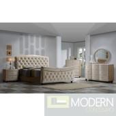 5Pc Herbet Brown Velvet Sleigh Bed Set