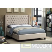 Ashton Beige Linen Platform Bed King