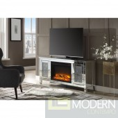 Allure Mirror TV Stand w/Fireplace (LED) Faux Crystals