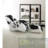 Divani Casa 920 - Modern California Cow Hide Chair and Ottoman