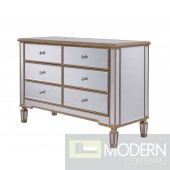 Asta 6 Drawer Dresser 48 in. x 18 in. x 32 in. in Gold paint