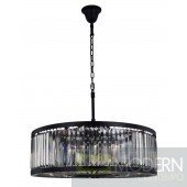 "35.5"" Greenwich 10 Light Crystal Chandelier In Matte Black With Royal Cut Silver Shade Grey Crystal"