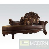 Varona Cherry/Faux Leather Traditional Chaise Lounge