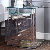 Valencia Nightstand/End Table in Mirrored & Faux Crystals