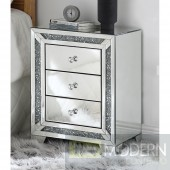 Spellbound Night Table - Mirrored & Faux Diamonds