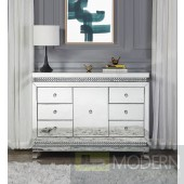 Primrose Console Table in Mirror & Faux Crystals Buffet Sideboard