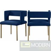 Blair Velvet Dining Chair - Set of 2 Gold Legs. Instore Item. DMV DEALS
