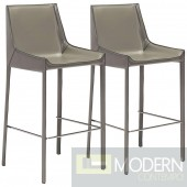 """Zuo Modern Fashion 30"""" Gray Faux Leather Bar Stools Set of 2  - LOCAL DMV DEALS"""