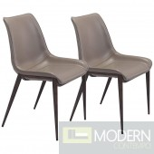 Zuo Modern Set of 2 Magnus Contemporary/Modern Faux Leather Upholstered Dining Side Chair (Metal Frame)  LOCAL DMV DEALS