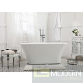Modern 59 inch Soaking Bathtub in Glossy White