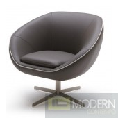 Willow Modern Grey Bonded Leather Lounge Chair